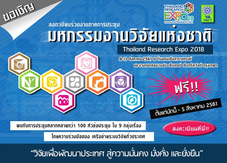 ขอเชิญชมนิทรรศการวิจัยของสถาบันวิจัยพุทธศาสตร์ในงาน Thailand Research Expo2018